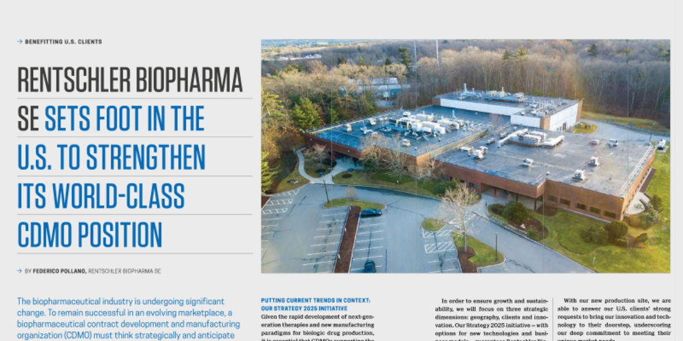 Rentschler Biopharma sets foot in the U.S. to strengthen its world-class CDMO position