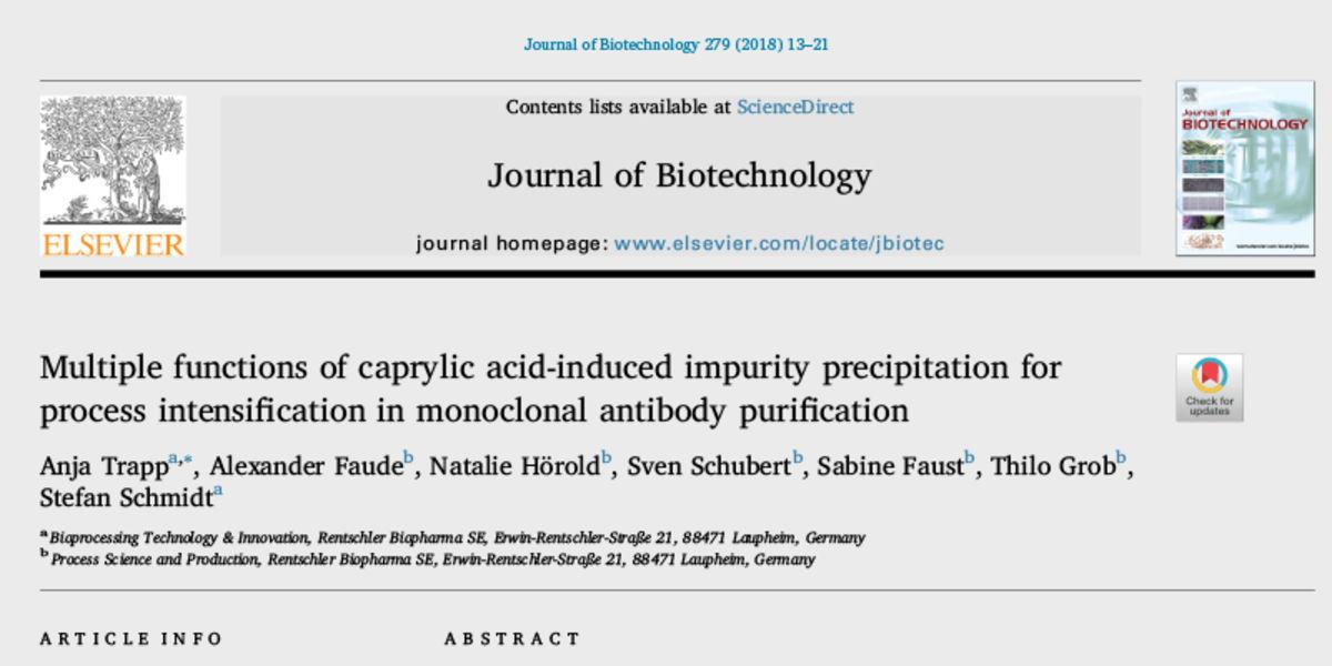 Artikel in Journal of Biotechnology, 2. Mai 2018