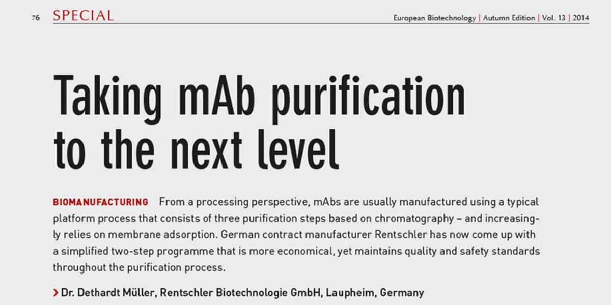 Artikel in European Biotechnology, Herbstausgabe 2014
