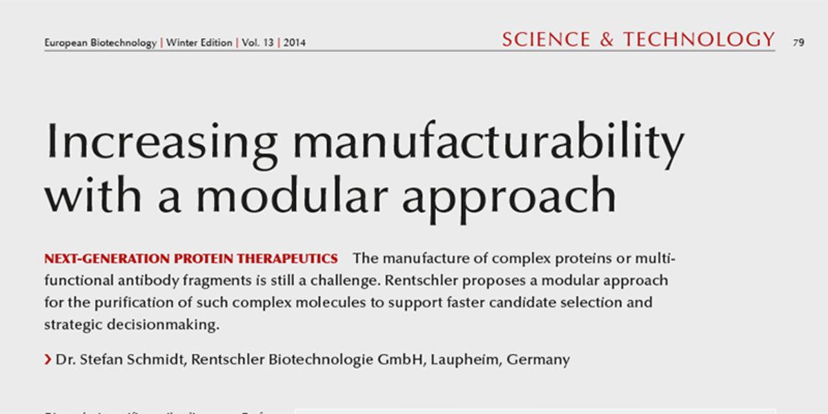 Artikel in European Biotechnology Winterausgabe 2014