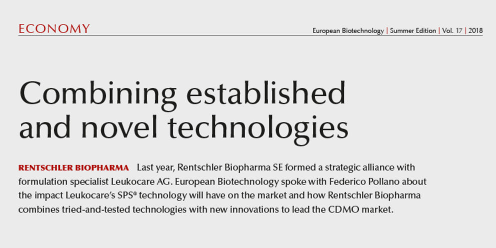 """Article in European Biotechnology Magazine Summer 2018 """"Combining established and novel technologies"""""""