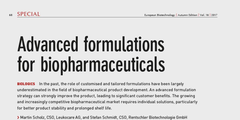 Article in European Biotechnology, Autumn 2017