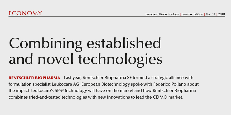 "Article in European Biotechnology Magazine Summer 2018 ""Combining established and novel technologies"""