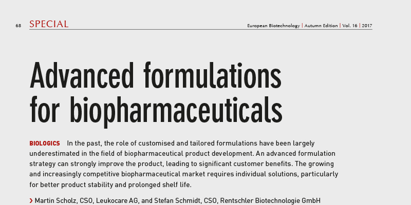 Article in European Biotechnology, Autumn 2017