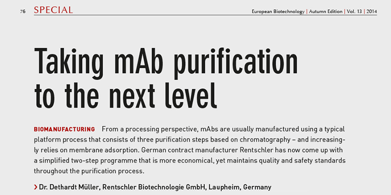 Article in the European Biotechnology, Autumn Edition 2015