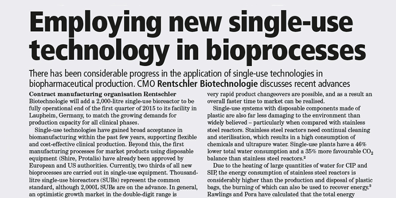 Article in Manufacturing Chemist, Oct 2014
